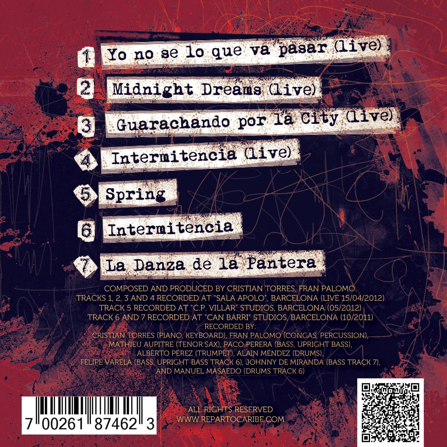 Reparto Caribe Latin Jazz Sextet Tapa disco Alma & Clave. Barcelona